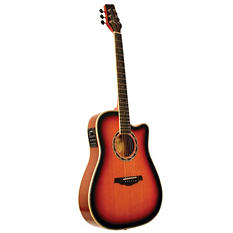 Kona Thin Body 41in Acoustic Guitar with Spruce Top in Tobacco Sunburst Finish