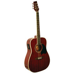 Kona Acoustic/Electric Dreadnought Guitar in Transparent Red