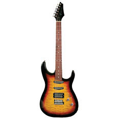 Kona Quilted Top Double Cutaway Electric Guitar in Tobacco Sunburst