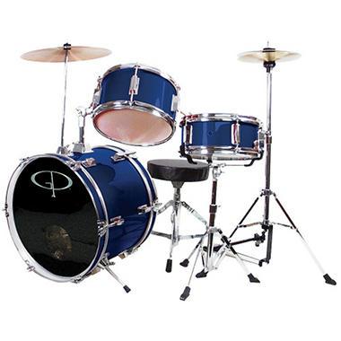 GP Percussion Complete 3-Piece Junior Drum Set - Metallic Midnight Blue