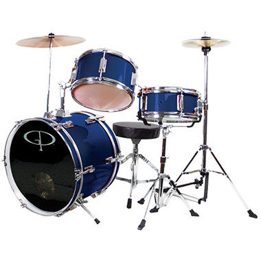 GP Percussion Complete 3-Piece Junior Drum Set - Metallic Midnight Blue