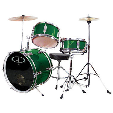 GP Percussion Complete 3-Piece Junior Drum Set - Metallic Green