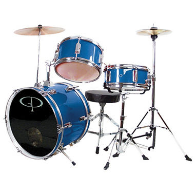 GP Percussion Complete 3-Piece Junior Drum Set - Metallic Royal Blue