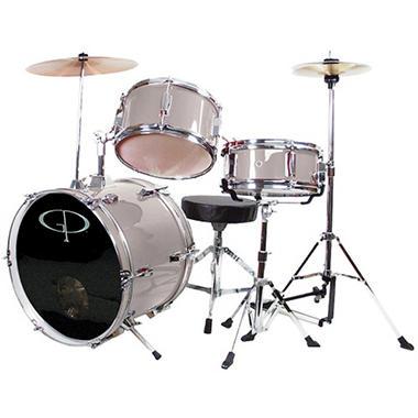 GP Percussion Complete 3-Piece Junior Drum Set - Metallic Silver