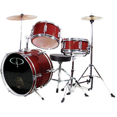 GP Percussion Complete 3-Piece Junior Drum Set - Metallic Wine Red