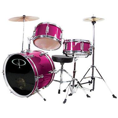 GP Percussion Complete 3-Piece Junior Drum Set - Metallic Pink
