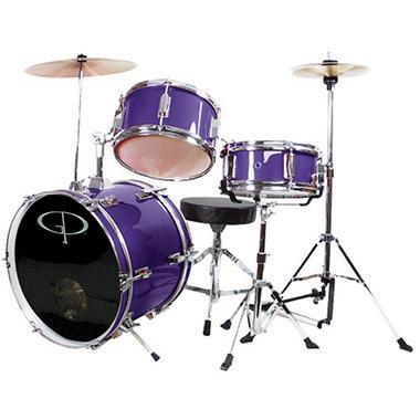 GP Percussion Complete 3-Piece Junior Drum Set - Metallic Purple