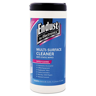 Endust - Antistatic Premoistened Wipes for Electronics, Cloth, 5 1/2 x 7 -  70/Tub