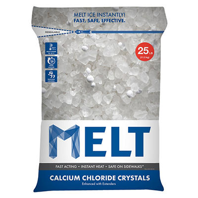 MELT 25 Lb. Resealable Bag Calcium Chloride Crystals Ice Melter - MELT25CC