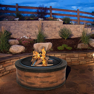 Sun Joe 35 In Cast Stone Fire Pit Rustic Wood Sam S Club