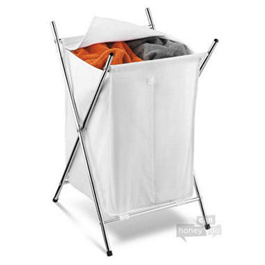Chrome Double Compartment Hamper