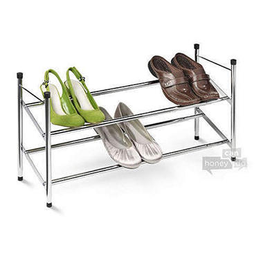 Two Tier Expandable Chrome Shoe Rack
