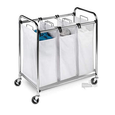 3-Compartment Commercial Chrome Laundry Sorter