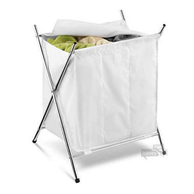 Chrome Triple Compartment Folding Hamper