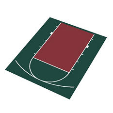 Duraplay Basketball Half Court - Hunter Green and Burgundy (Choose Your Size)