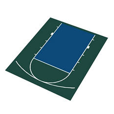 Duraplay Basketball Half Court - Green and Navy (Choose your Size)