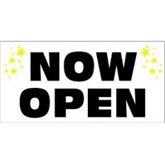 "Digital Vinyl ""Now Open"" Banner - 3' x 6'"