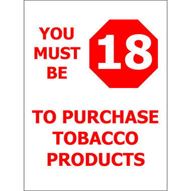 "T3 - Must be 18/ Tobacco - 6"" x 8"" Decal - 6 Pack"