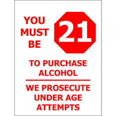 """Must be 21/ Required to Ask - 6"""" x 8"""" Decal - 6 Pack"""