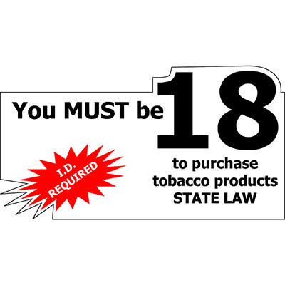 """Must be 18/ ID Required - 7"""" x 4"""" Die Cut Decal - 6 Pack"""