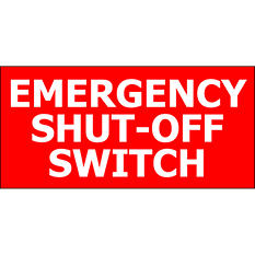 """T3 - Emergency Shut-off - 5"""" x 3"""" Decal - 6 Pack"""