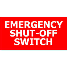 "T3 - Emergency Shut-off - 12"" x 6"" Decal - 6 Pack"