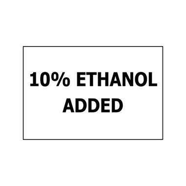 "10% Ethanol Added - 3"" x 2"" Decal"