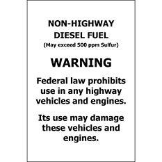 "T3 - Non-Highway Diesel Fuel - 4"" x 6"" - 6 Pack"