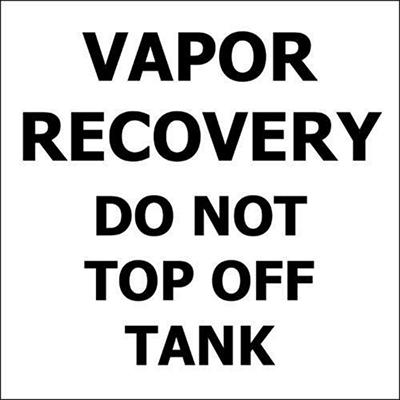 """Vapor Recovery - 6"""" x 6"""" Decal - 6 Pack"""
