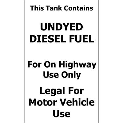 "Tank/ Undyed Diesel - 6"" x 10"" Decal - 6 Pack"