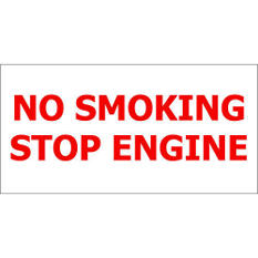 "No Smoking/ Stop Engine - 12"" x 6"" Decal - 6 Pack"