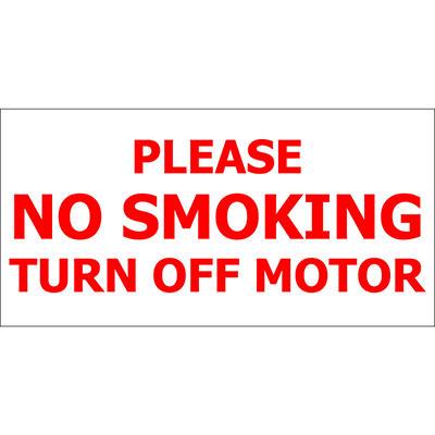 "No Smoking/ Turn Off Motor - 12"" x 6"" Decal - 6 Pack"