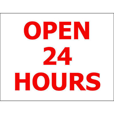 "Open 24 Hrs. - 6 1/2"" x 5"" Die Cut Decal - 6 Pack"