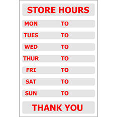 "Store Hours - 8"" x 12"" Decal - 6 Pack"