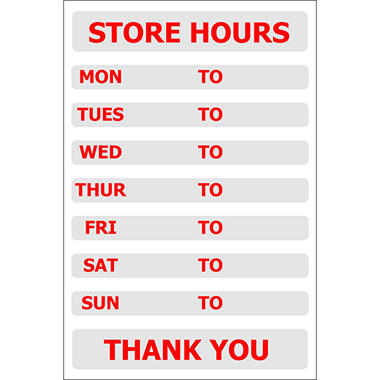 "Store Hours - 8"" x 12"" Decal"