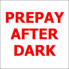 "Prepay After Dark - 6"" x 6"" Decal - 6 Pack"