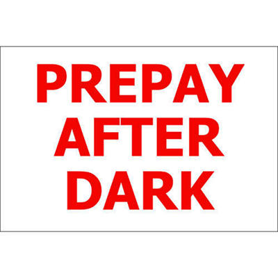 "PrePay After Dark - 12"" x 8"" Decal - 6 Pack"