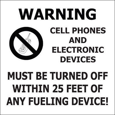 """No Cell Phones - 6"""" x 6"""" Decal - 6 Pack"""