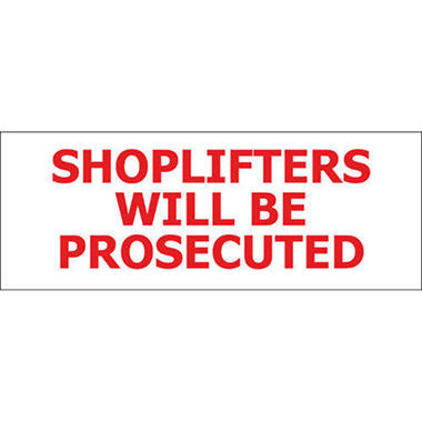 "T3 - Shoplifters Will Be Prosecuted - 8"" x 3"" Decal - 6 Pack"