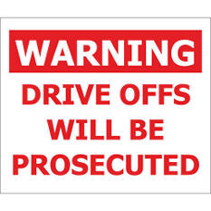 "Warning/ Drive Offs - 12"" x 10"" Decals - 6 Pack"