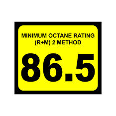 "Octane Decal - 3"" x 2 1/2"" - 86.5 >100 - 6 Pack"