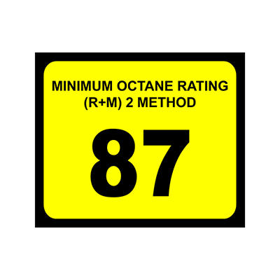 """T3 - Octane Decal - 3"""" x 2 1/2"""" - 87 >100 - 6 Pack"""