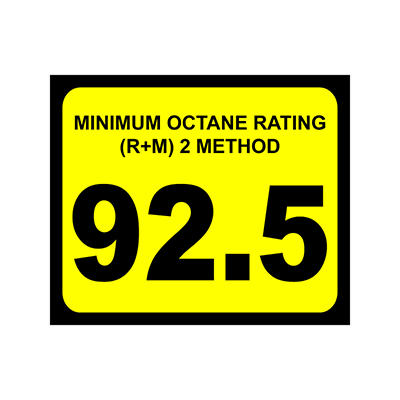 "Octane Decal - 3"" x 2 1/2"" - 92.5 - 6 Pack"