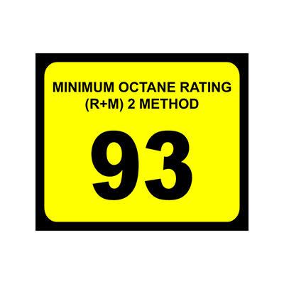 """Octane Decal - 3"""" x 2 1/2"""" - 93 >100 - 6 Pack"""