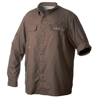 Habit Vented River Long-Sleeved Shirt, Brown - Choose Your Size