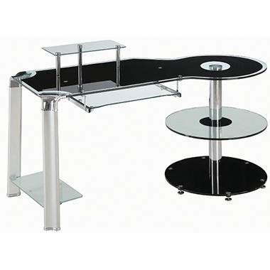 Innovex Fusion Glass Desk - Black