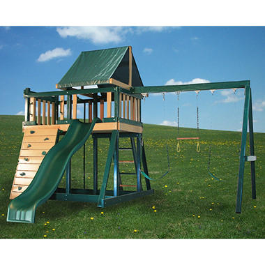 Congo Monkey Wooden Swing Set Package #1 Green and Brown