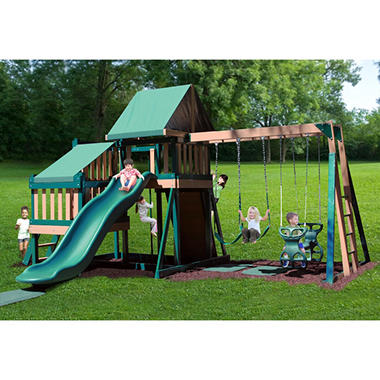 Congo Monkey Wooden Swing Set Package #2 Green and Brown