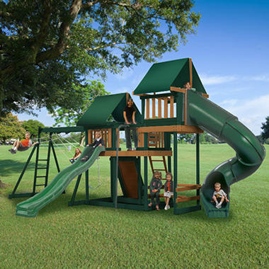 Congo Monkey Wooden Swing Set Package #3 Green and Brown