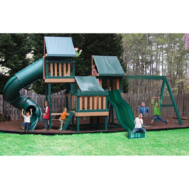 Congo Monkey Wooden Swing Set Package #4 Green and Brown